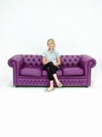 Диван Chesterfield в лилав цвят